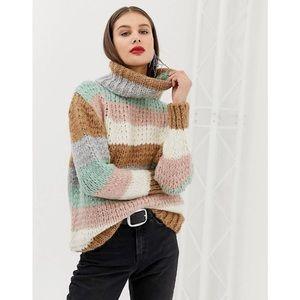 River Island Women's Roll Turtleneck Neck Chunky Knit Sweater in Stripe